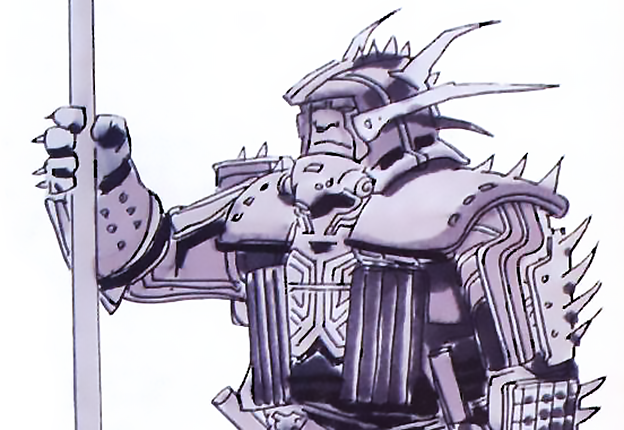 An early production sketch from the video game themed movie Tron, featuring Sark's guard with shock pole