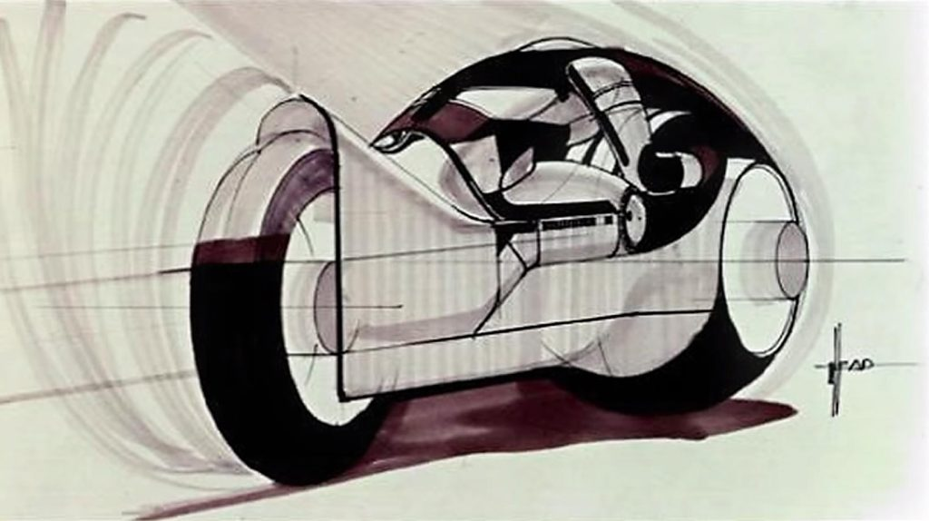 Concept art of lightcycle from Tron, a video game themed movie by Disney