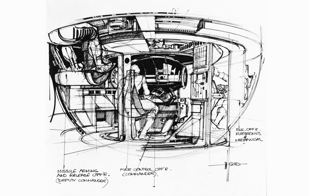 A drawing by Syd Mead for Tron, a video game themed movie by Disney 1982
