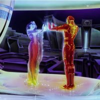 Concept art for Tron, a video game themed movie by Disney