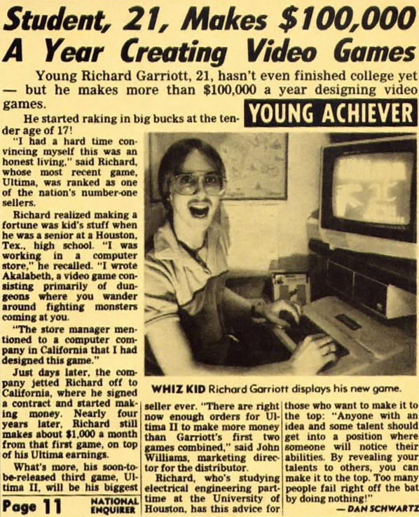 National Enquirer article featuring Richard Garriott/Lord British, creator of computer video game Ultima