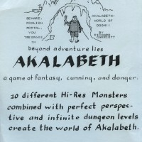Image of Insert sheet for original packaging for Akalabeth, a computer RPG by Lord British