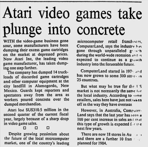Newspaper article on the E.T. cartridge dump
