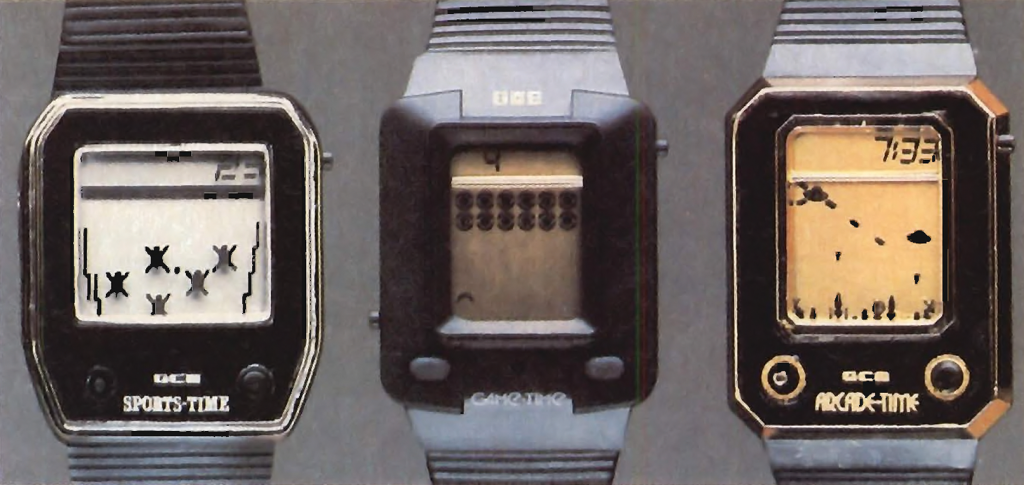 SportsTime, GameTime and ArcadeTime LCD game watches by GCE, 1982