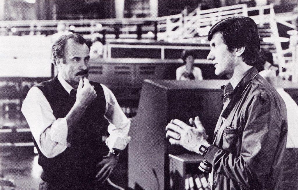 Actor Dabney Coleman and director John Badham on set of video game movie WarGames