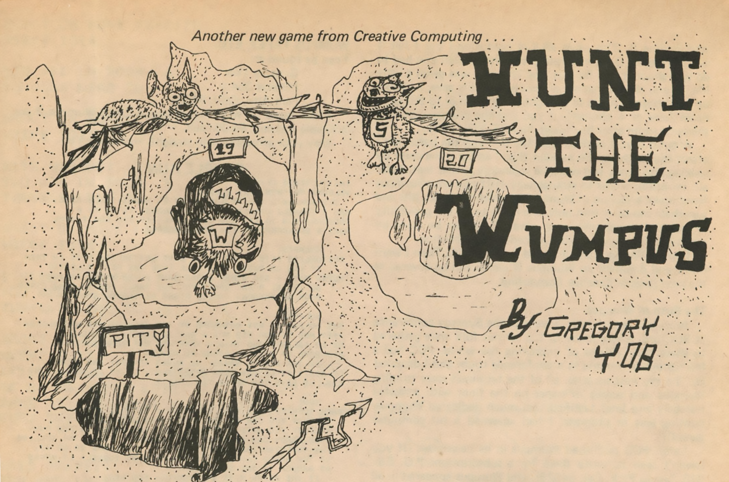 Illustration for Hunt the Wumpus, a computer game by Gregory Yob