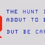 A screenshot from Hunt the Wumpus, a game for the TI Computer, 1980.