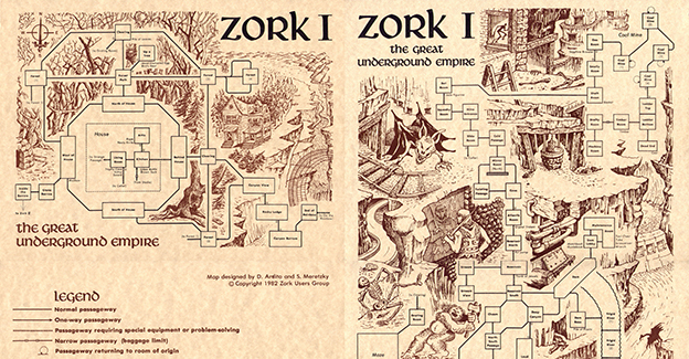 Zork User's Group map of Zork I, a computer adventure game by Infocom