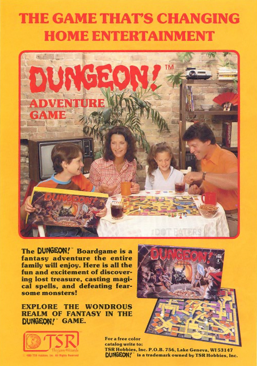Ad for Dungeon, a boardgame by Dungeons and Dragons game TSR.