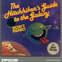Cover of Hitchhiker's game, Atari 8-bit computers version