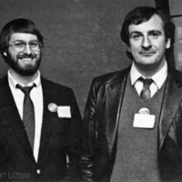 Steve Meretzky and Douglas Adams, authors of Hitchhiker's Guide to the Galaxy adventure game by Infocom, 1985