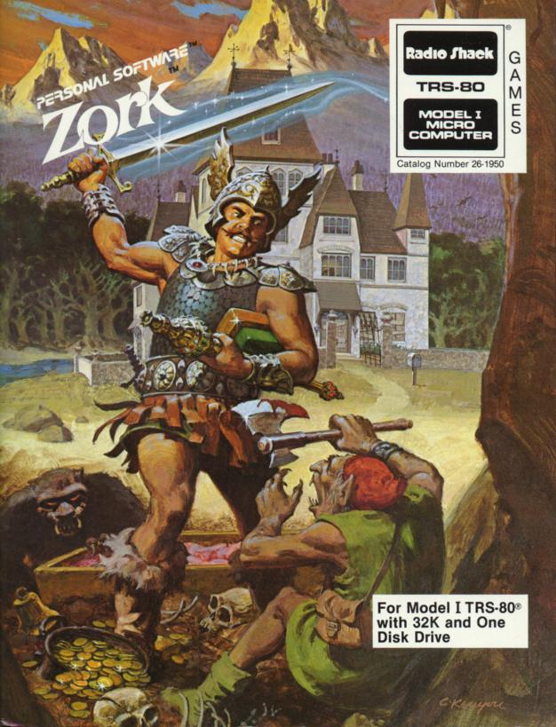 Box art for Zork, a computer text adventure game for the TRS-80, by Infocom 1980