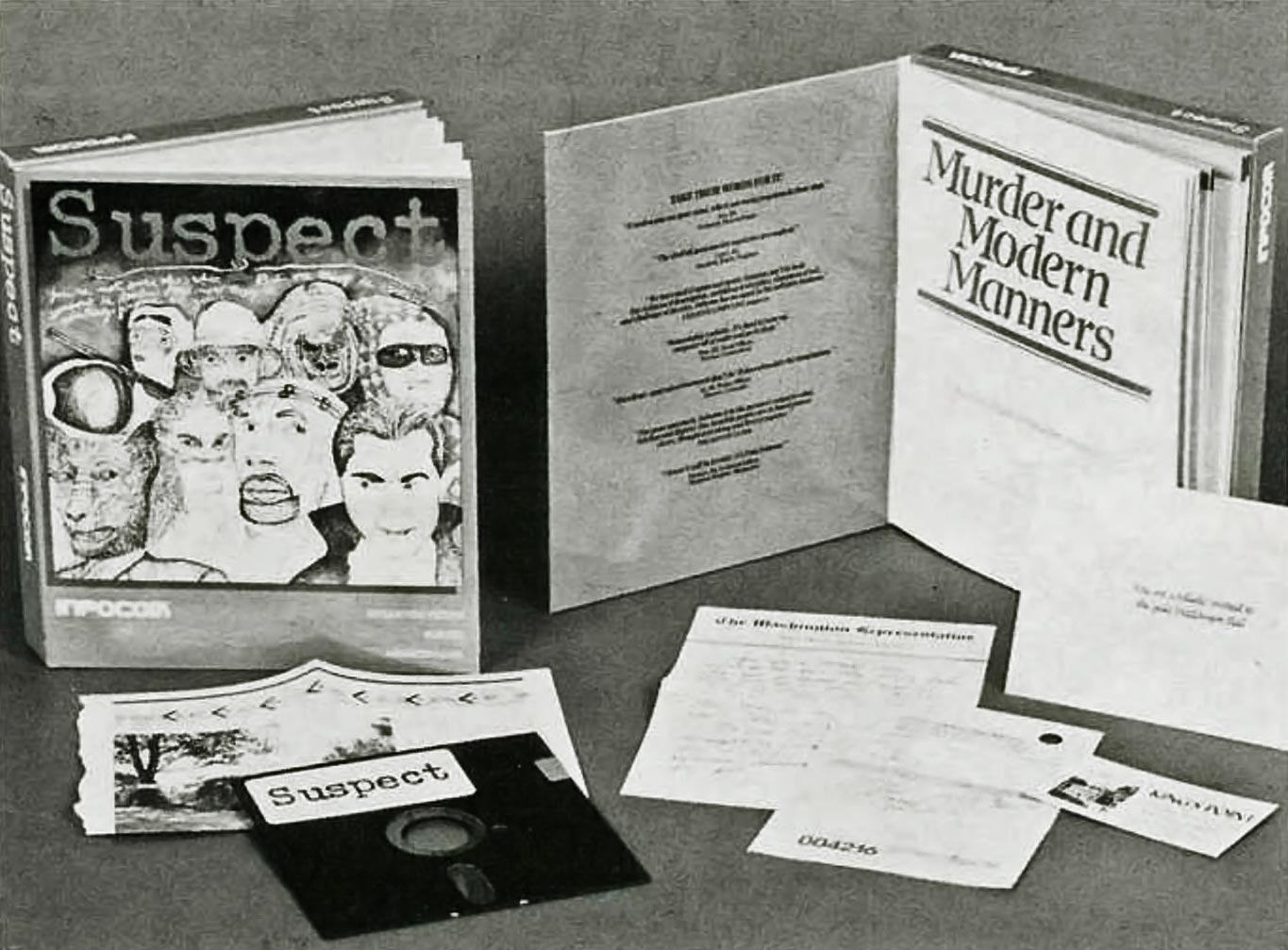 Right in the Infocom feelies: physical clues provided in Suspect, 1984