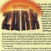 Magazine ad for Beyond Zork, a home computer adventure game by Infocom 1987