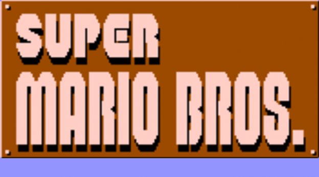 Title screen for Super Mario Bros., a video game for the Famicom by Nintendo 1985