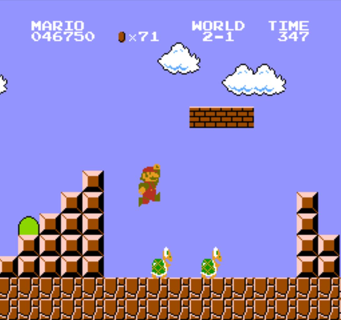 Super Mario Bros., a video game for the Famicom by Nintendo 1985