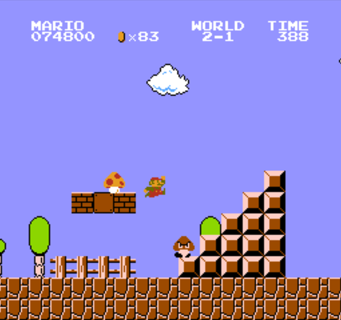 Super Mario Bros., a video game for the Famicom by Nintendo 1985