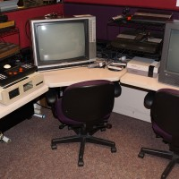 Image of game setup at the University of Michigan Computer + Video Game Archive 2013