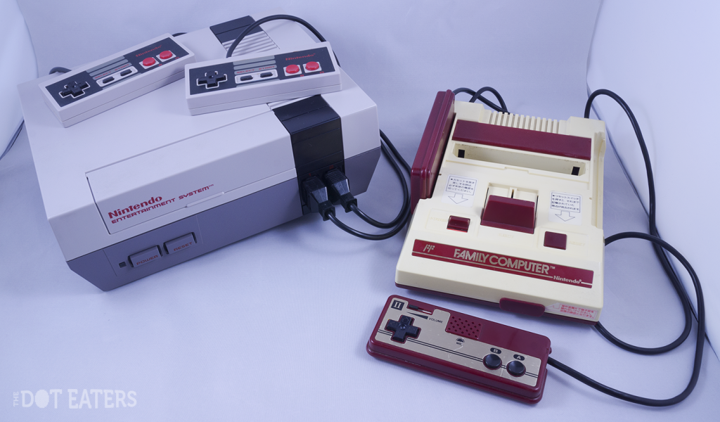 Image of the NES and Famicom, two video game consoles by Nintendo 1985/1983