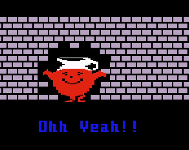 Kool-Aid Man breaks through in a video game for Mattel's Intellivision, 1983