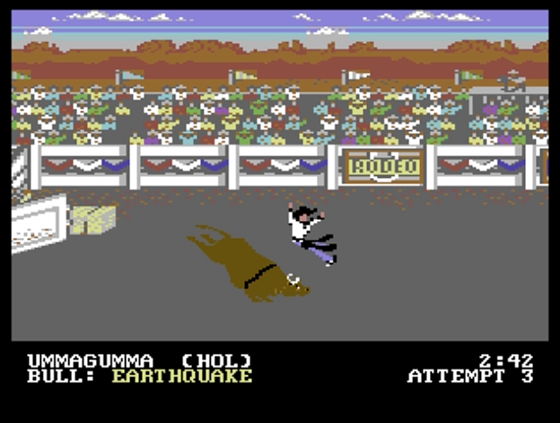Bull Riding event in World Games, a computer game by Epyx 1986