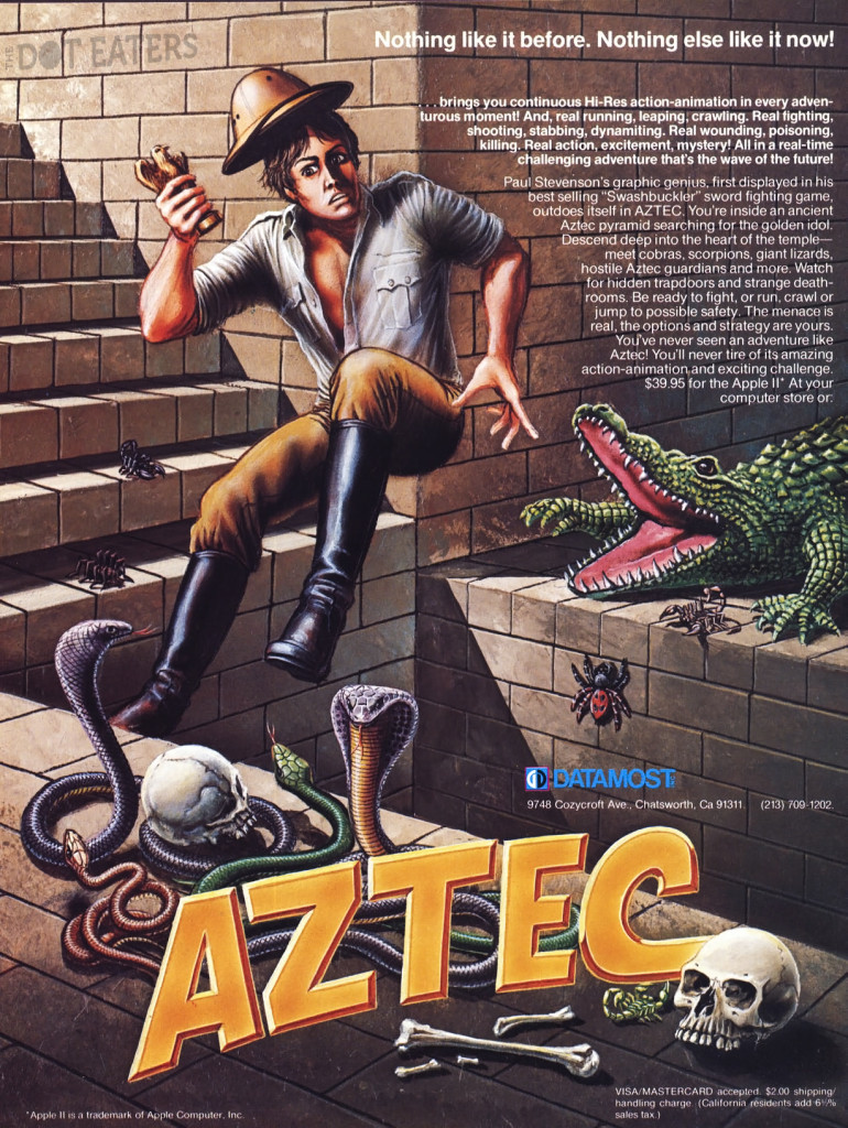 Ad for Aztec, a computer video game by Paul Stevenson and Datamost, 1982