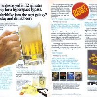 Ad for Infocom's computer text adventure game Hitchhicker's Guide to the Galaxy, by Steve Meretzky and Douglas Adams