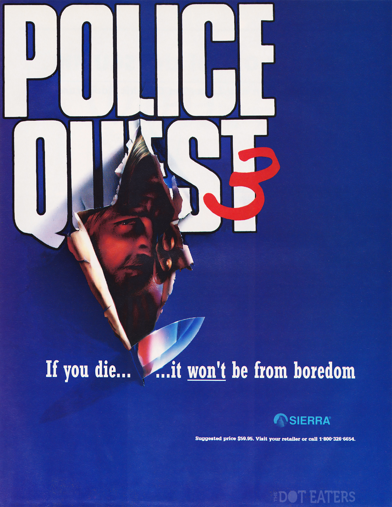 Ad for Police Quest 3, a 1991 Sierra computer adventure game