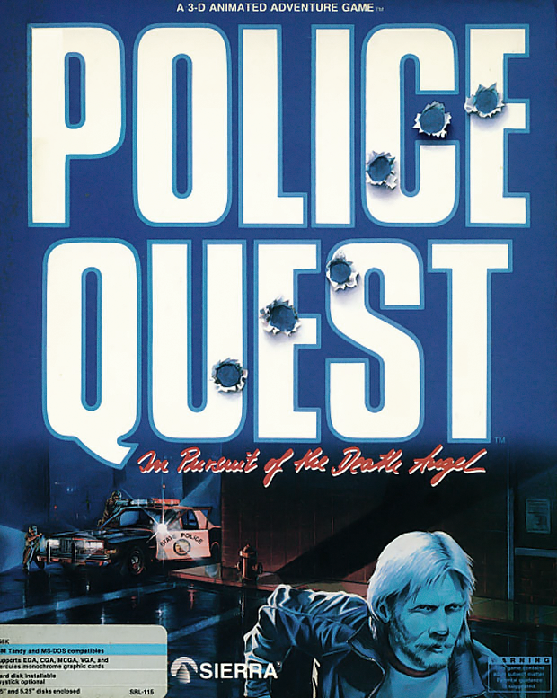 Box art for 1987 game Police Quest, a Sierra computer adventure game