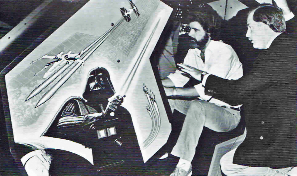 Atari arcade game being played by George Lucas, creator of Star Wars