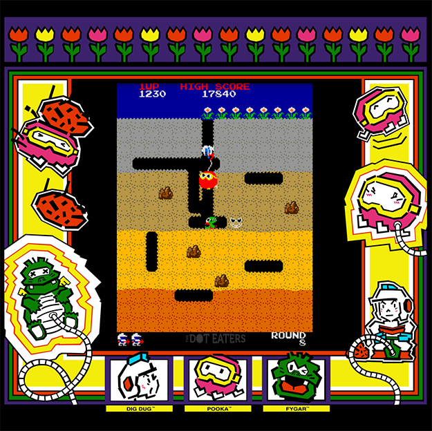 Dig Dug, an arcade video game by Atari and Namco, 1982