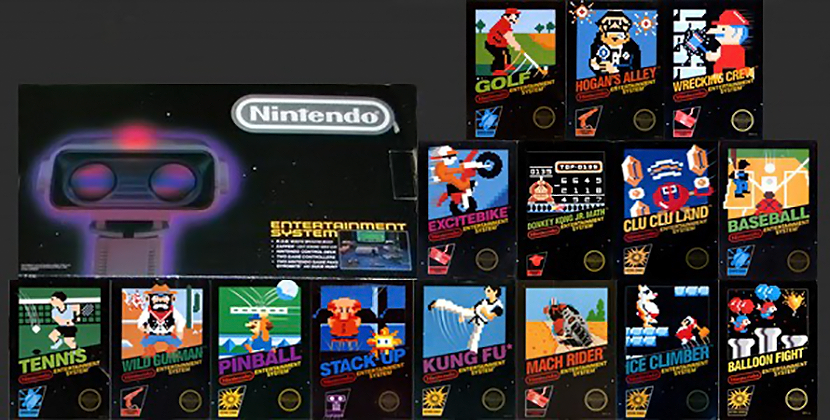Launch box and games for NES, a home video game system by Nintendo
