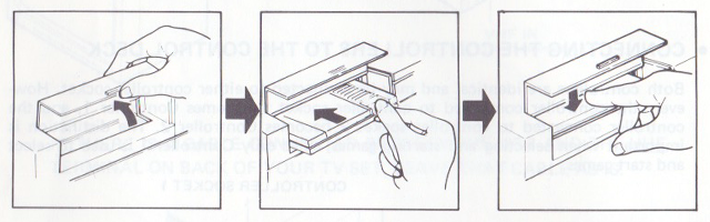 Cartridge insertion instructions from the Nintendo NES video game manual