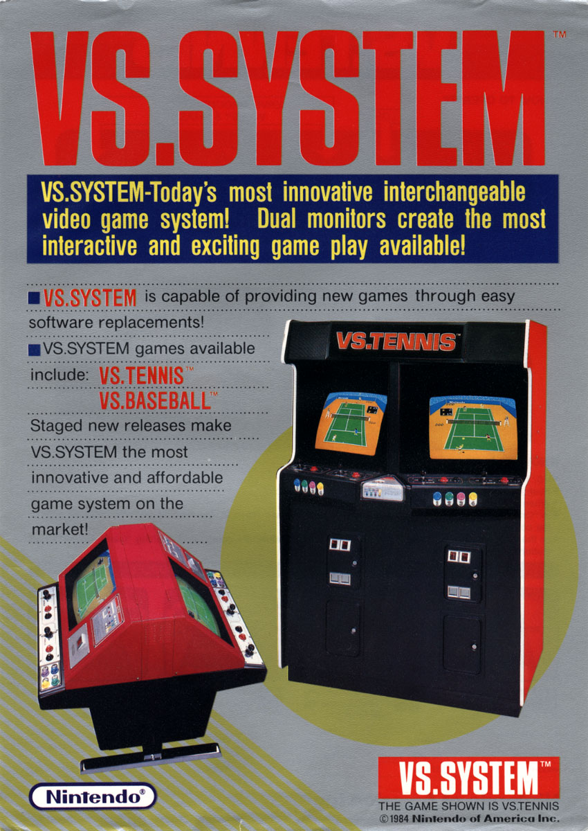 Flyer for VS., an arcade video game system by Nintendo