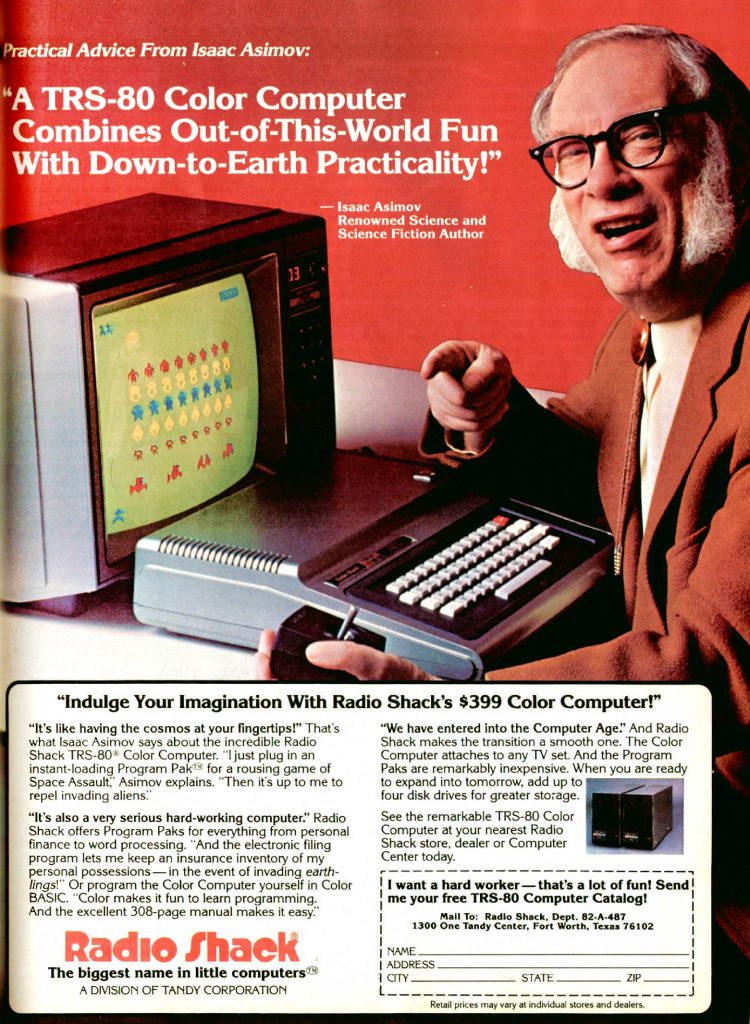 Ad with science fiction author Isaac Asimov shilling for the Tandy TRS-80 Color Computer