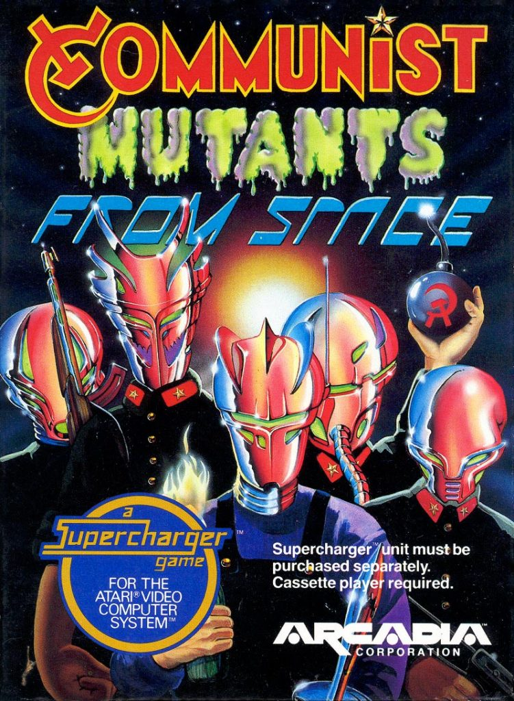 Communist Mutants From Space, a home video game for the Supercharger, on the Atari 2600 console